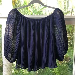 Lush Ruffle Off The Shoulder Blouse Navy